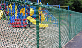 Green Vinyl Covered Chain Link Fence